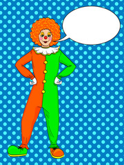 Pop art clown raster. Theater, circus, a woman in a jester costume. Text bubble. Vintage Background