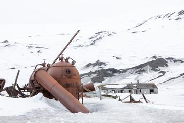 Ruins of rusted boilers, Antarctica