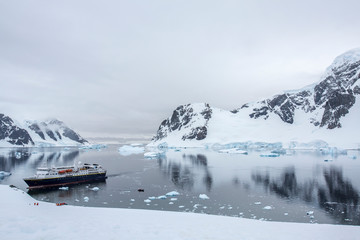 Docked boat on the waters of Antartica