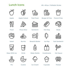 Lunch Icons - Outline styled icons, designed to 48 x 48 pixel grid. Editable stroke.