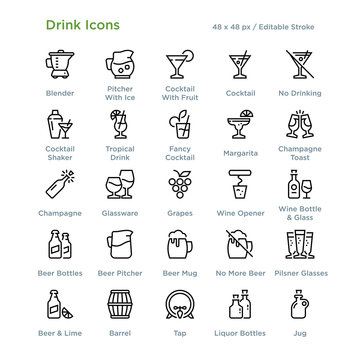 Drink Icons - Outline styled icons, designed to 48 x 48 pixel grid. Editable stroke.