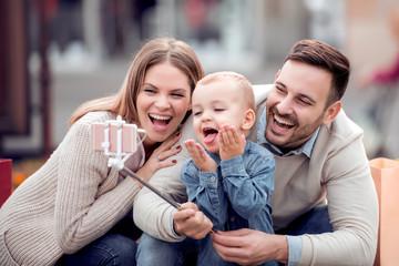 Happy  family took photos