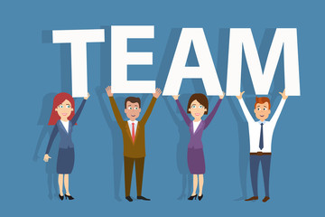 Cheerful business people holding team word