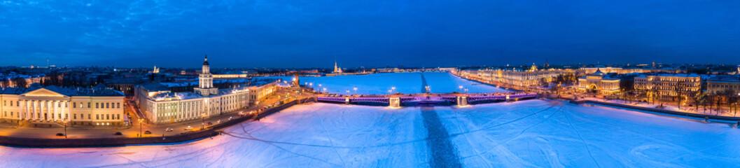 Saint Petersburg. Winter. Neva River. Vasilyevsky Island. Petersburg Winter. Russia in the winter. Aerial photography of St. Petersburg. Panorama of St. Petersburg.