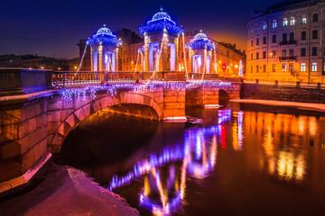Saint Petersburg. Channels in St. Petersburg. Christmas decorations on the bridge. Christmas in St. Petersburg. New year in Russia. Christmas decorations in the city. Christmas in Russia.