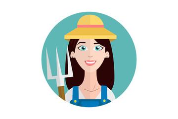 Cheerful farmer woman in circle