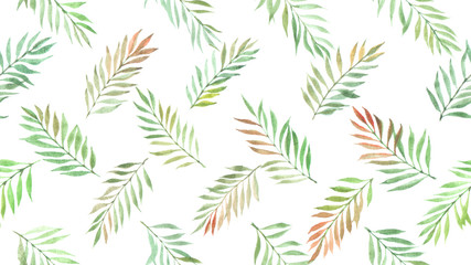 watercolor willow leaves seamless pattern