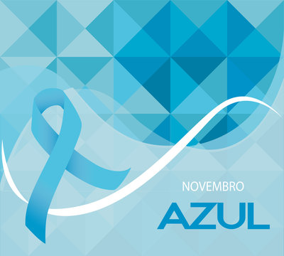 Novembro Azul is blue November in Portuguse. Blue ribbon vector. Prostate cancer awareness month ribbon on geometric background.