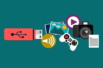 Flash drive and media icons