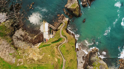 Aerial view over Dunquin Pier at Dingle Peninsula – view from above