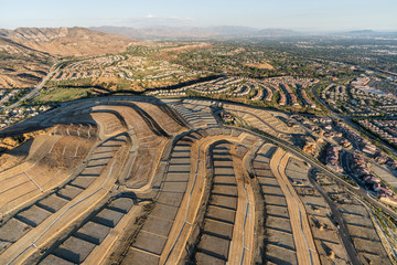 Aerial view of new neighborhood construction grading in the Porter Ranch community of Los Angeles, California.