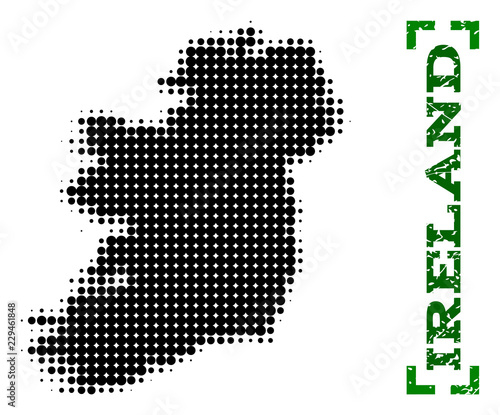 Map Of Ireland Islands.Halftone Map Of Ireland Island And Rubber Caption Vector Green