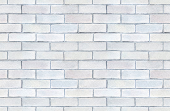 Seamless pattern of blank white brick wall. Hand painted watercolour graphic illustration, delicate shades of gray. Beautiful, cosy, abstract backdrop for design, signs, scrapbook, decoration, prints.