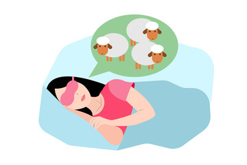 Woman dreaming about sheep