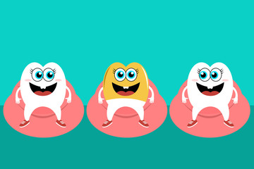 Cheerful teeth on vector illustration