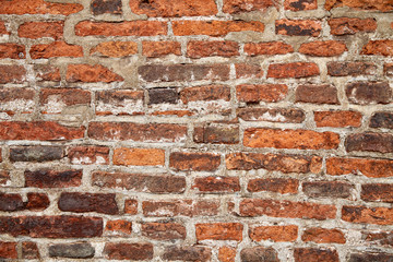 background and texture concept - close up of brick old wall, abstract photo