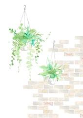 観葉植物とタイル、グレー