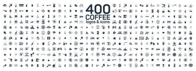 Coffee details and tools 400 isolated icons set on white background. Logo and sign for coffee shop and house