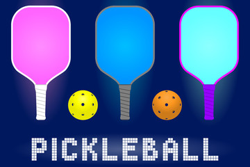 pickleball paddle rackets and balls. set of sport equipment for hobby game in modern color. stock vector illustration