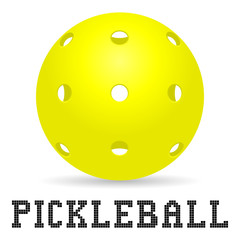 yellow pickleball ball with shadow and pickleball lettering for icon or logo design. stock vector illustration