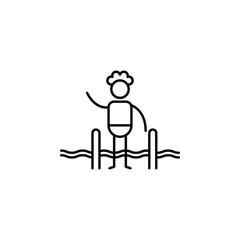 Swimer, swimming pool icon. Element of people in travel line icon. Thin line icon for website design and development, app development. Premium icon