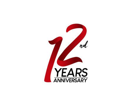 12 anniversary logo vector red ribbon
