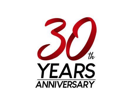 30 anniversary logo vector red ribbon