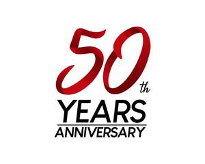 50 anniversary logo vector red ribbon