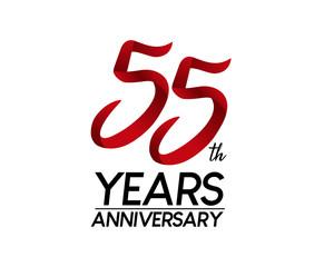 55 anniversary logo vector red ribbon