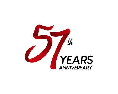 57 anniversary logo vector red ribbon