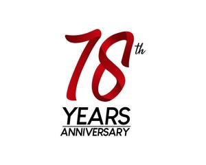 78 anniversary logo vector red ribbon