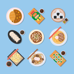 Japanese food. Delicious dishes from Japan country traditional cuisine. Illustrations of eastern asian countries meals from above.