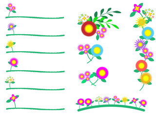 カラフルポップなお花のアクセントセット