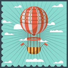 Airballon isolated in sky with white clouds colorful greeting card with dark blue wavy frame.
