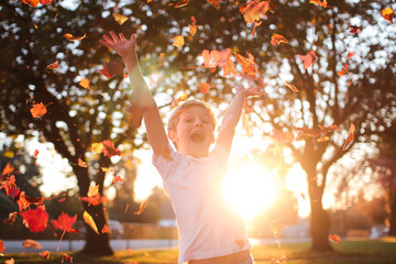 boy tossing leaves in the air