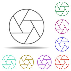 lens icon. Elements of photography in multi color style icons. Simple icon for websites, web design, mobile app, info graphics
