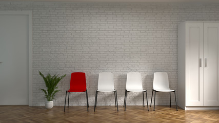 White chair and red chair Storage Cabinet in front of empty wall co working environments interior Model Home office Meeting rooms have computers,notebooks. Business 3d rendering,Recruitment