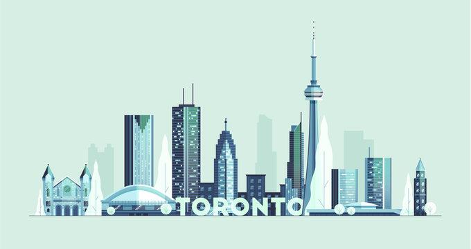 Toronto skyline Canada big city silhouette vector