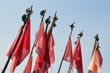Red flags used to mark fishing nets