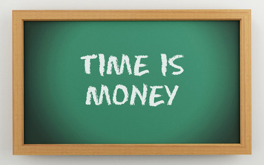 3d chalkboard with time is money text