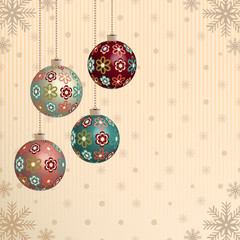Christmas pattern with the image of Christmas balls and snowflakes