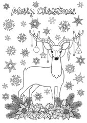 Merry Christmas Greeting Coloring Page with Deer