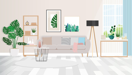 Pictures of plants above the sofa, with cushions, standing at the wall next to a black lamp. Vector flat illustration.