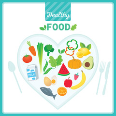 Vector of Healthy Food design with vegetables and fruits on heart shape
