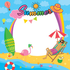 Illustration vector of summer frame template design with colorful on the beach concept background.
