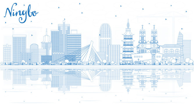 Outline Ningbo China City Skyline with Blue Buildings and Reflections.