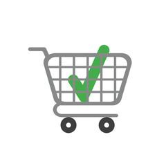 Vector icon concept of check mark inside shopping cart