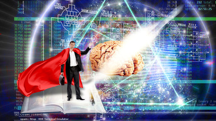 super man and innovative scientific technology