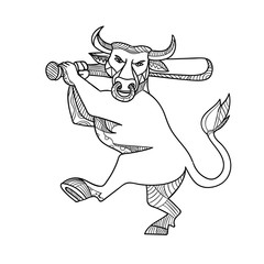 Bull Baseball Bat Mono Line