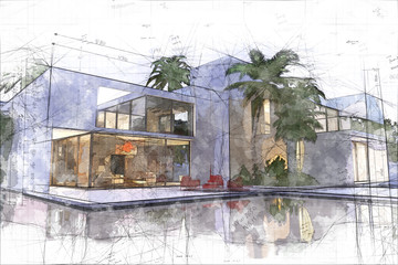 Draft of luxurious villa with pool